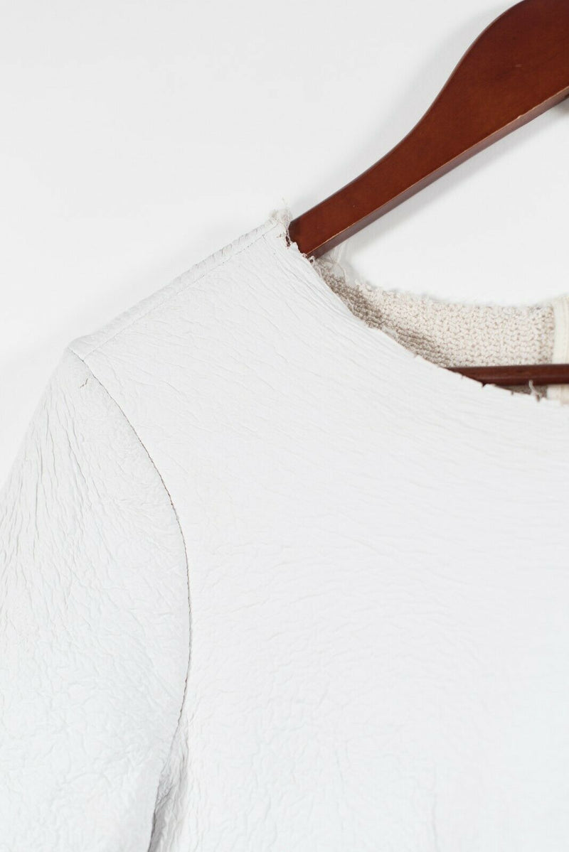 Zara Knit Womens Small White Shirt Faux Distressed Vegan Leather Pullover Top