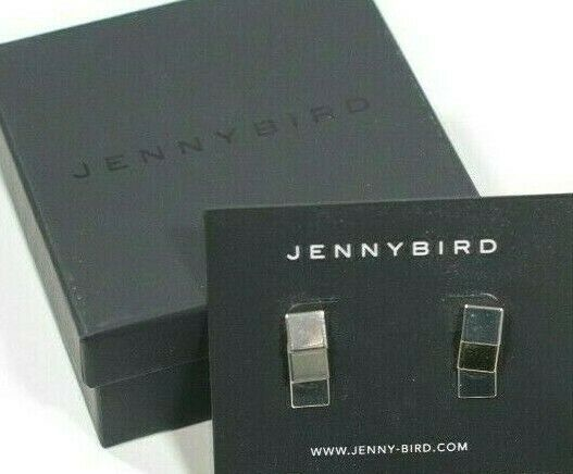 Jenny Bird Womens Silver Tone Earrings Square Stud Drop Retail With New With Box