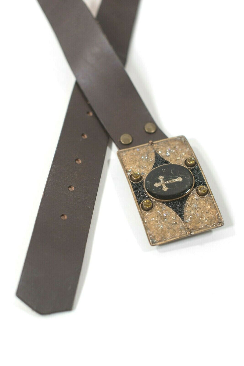 Virgin Saints and Angels VSA Small Brown Waist Belt Leather Cross Buckle $337
