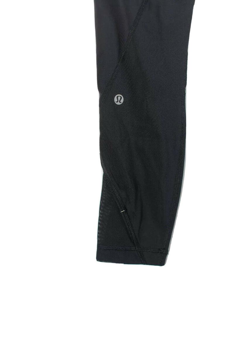 Lululemon Womens Size 2 Black Pants Sheer Skinny Cropped Stretch Elastic Waist