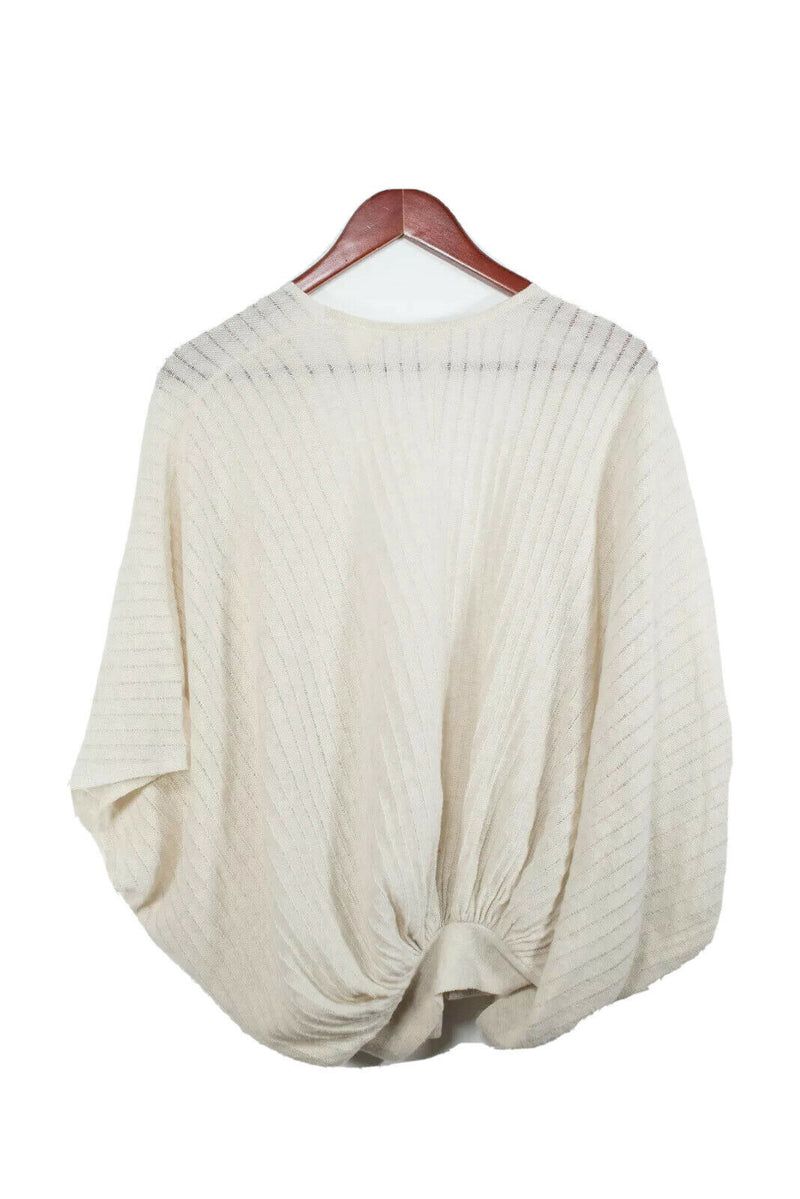Twelfth Street By Cynthia Vincent Womens Small Beige Cashmere Wrap Top