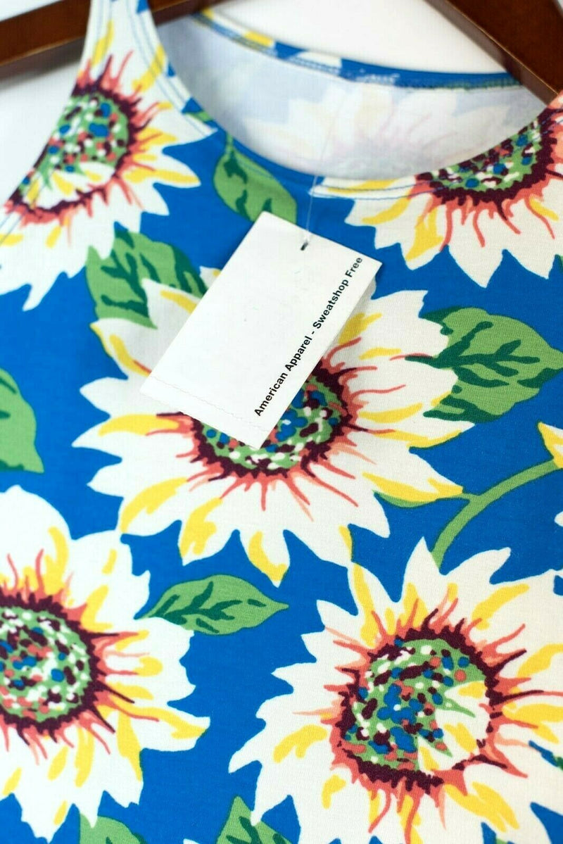 American Apparel Womens Size XS Blue White Yellow Bodysuit Floral Sunflower BNWT