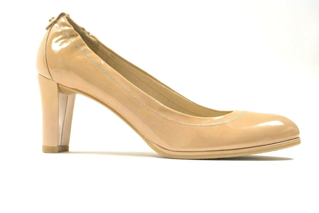 Stuart Weitzman Womens Size 9 Nude Pumps Heel Patent Leather Round Toe Shoes