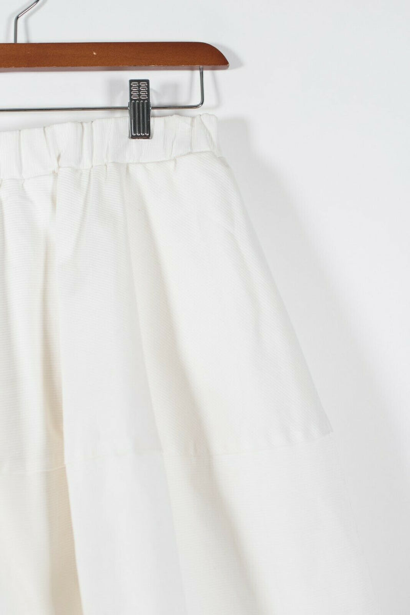 Co Womens Size XS White Skirt Pockets Cotton Twill Elastic Waist Circle Designer