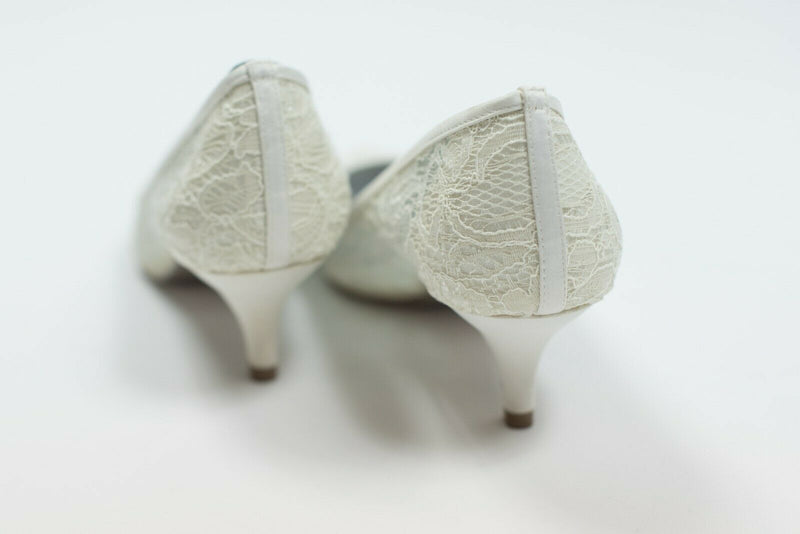 Adrianna Papell Womens Size 9.5 Ivory Pumps Lois-LC Kitten Heel Lace Wedding New