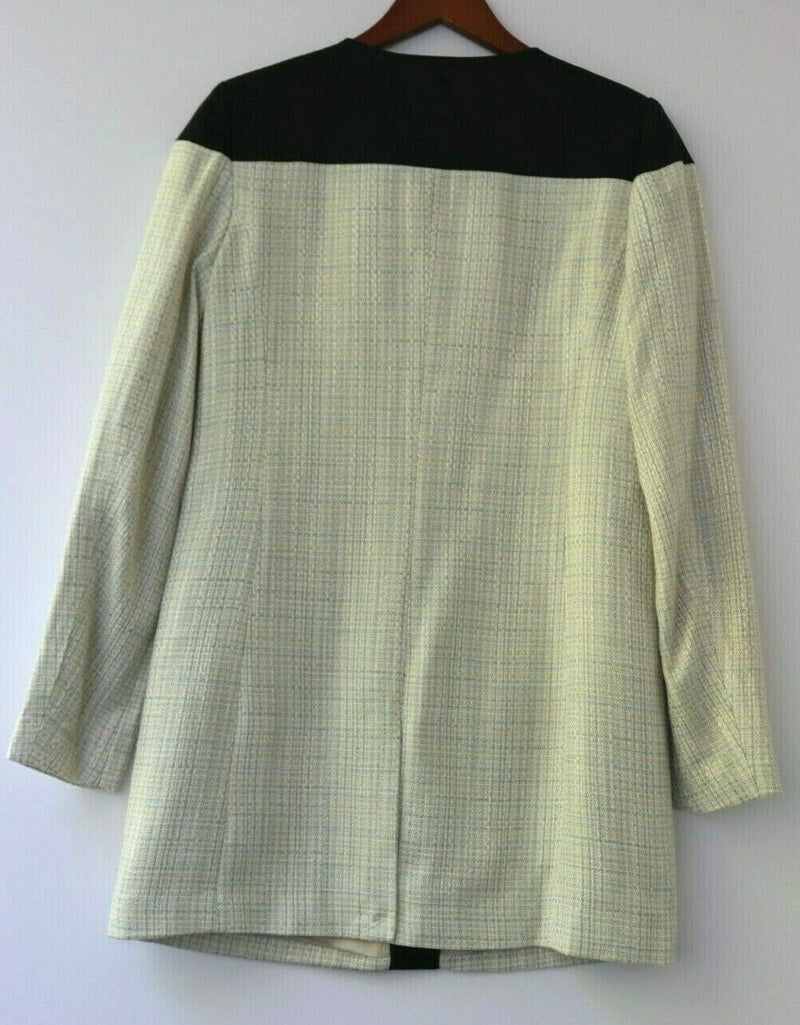 BCBG Paris Women's Size 6 Cream Coat Tweed Woven Navy Color Block 2 Tone NWT
