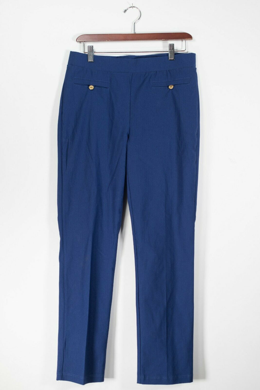Studio Point Women's Small Blue Dress Pants Rayon Stretch Elastic Waist Trousers