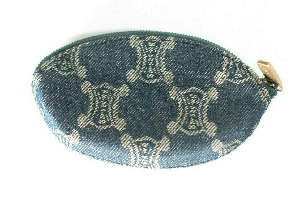 Celine Blue Coin Purse Macadam Vintage Wallet