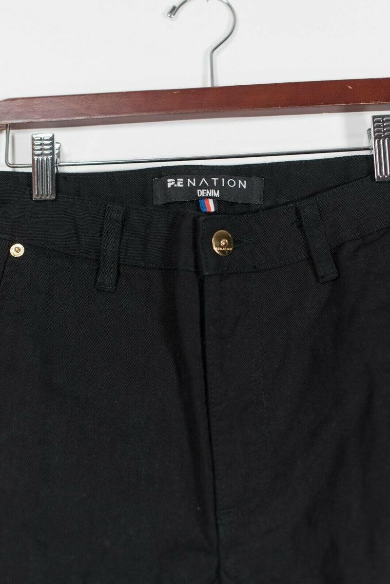 P.E Nation Denim Womens Size 26 Black Warrior Jeans Cargo Pockets Striped Pants