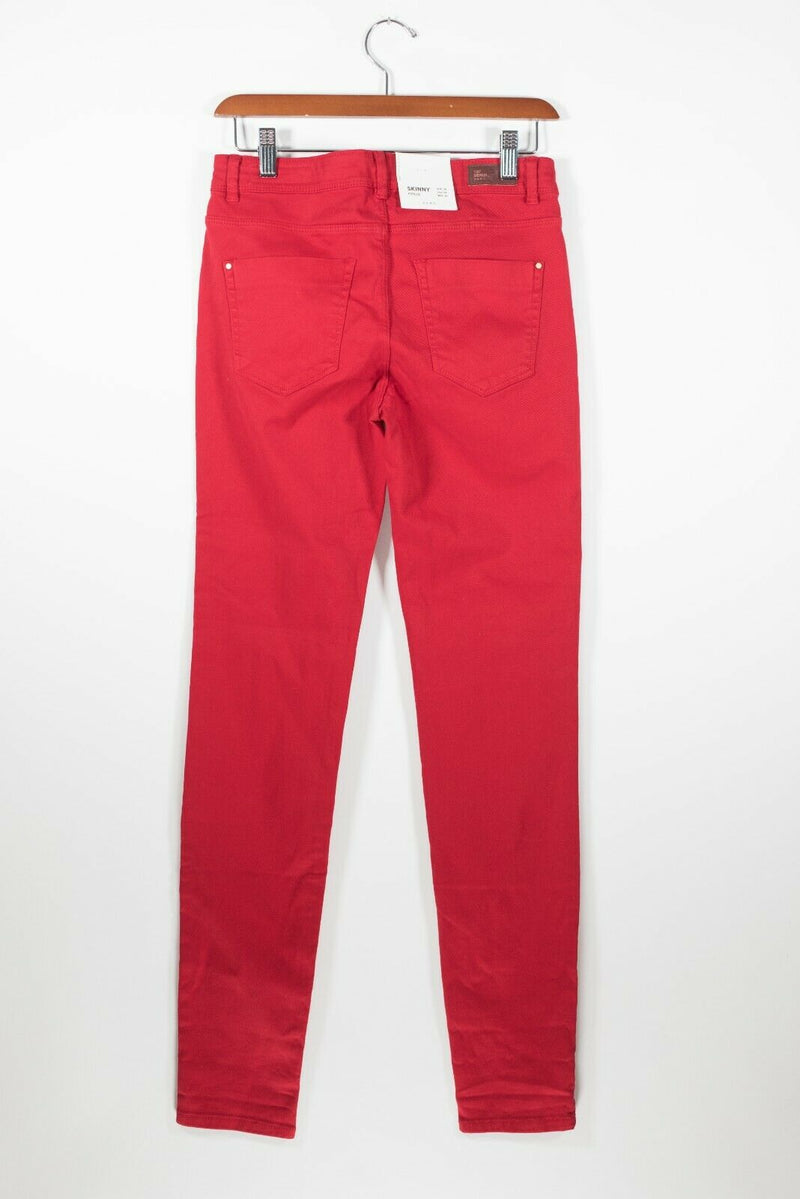 Zara TRF Womens Size 6 Small Red Pants 5 Pocket Zipper Solid Skinny Jeans NWT
