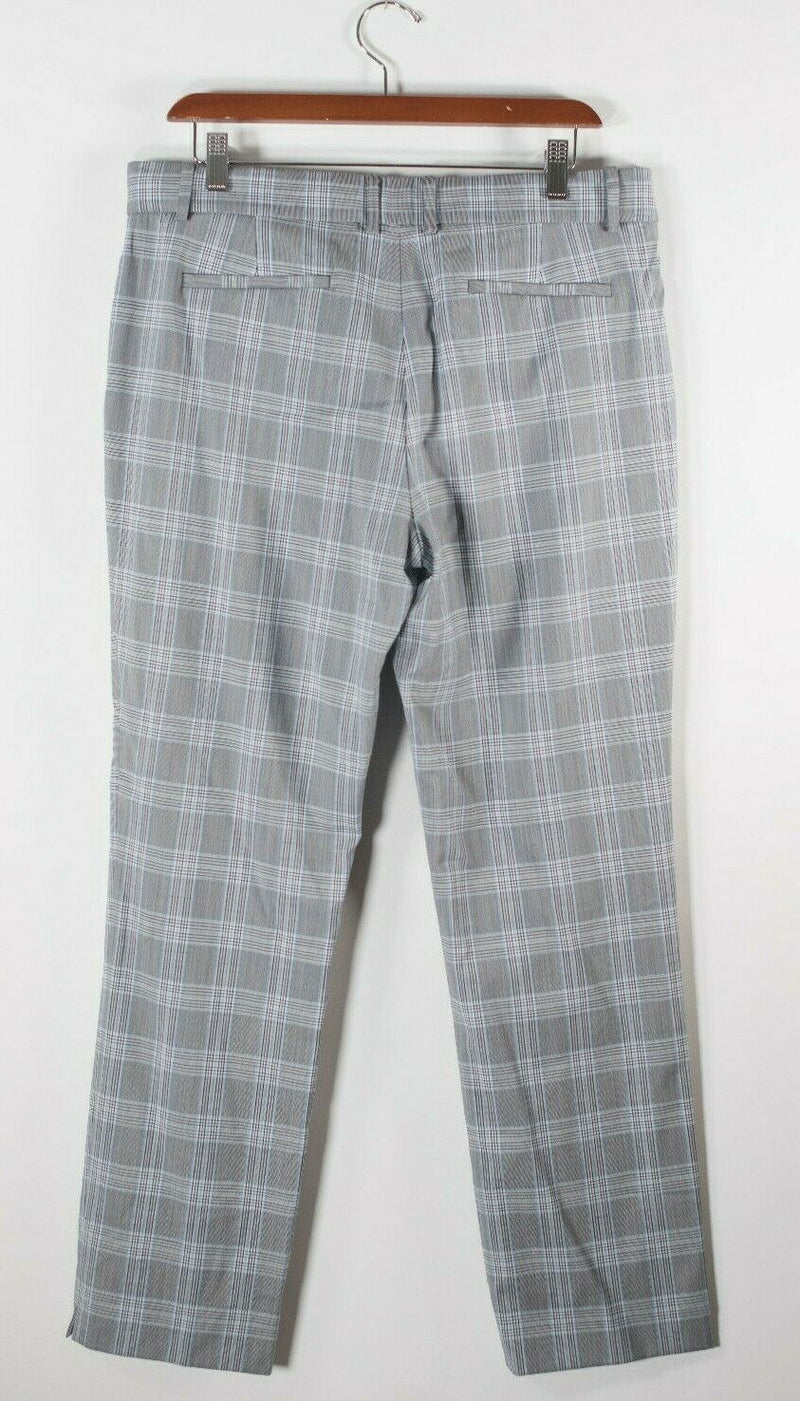 Theory Womens Size 10 M Grey Black Blue Trousers Autumn Plaid Straight Pants NWT
