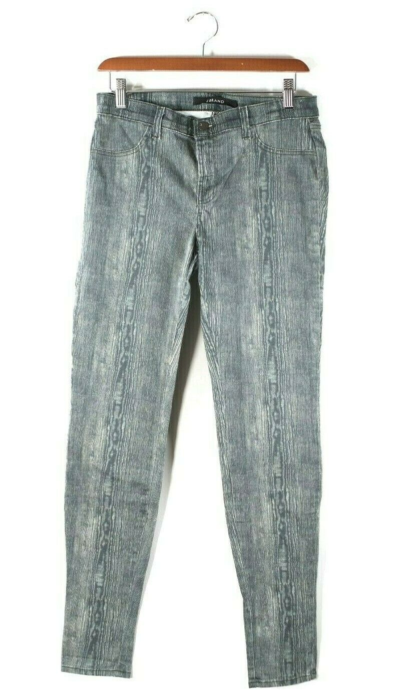 J Brand Womens Size 28 M White Brown Jeans Super Skinny Wood Grain Denim Pants