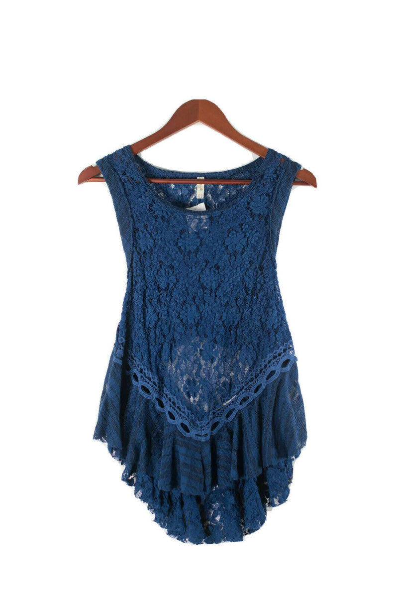 Free People Womens Medium Blue Tank Top Peplum Lace Sheer Cutout Hi-Lo Ruched