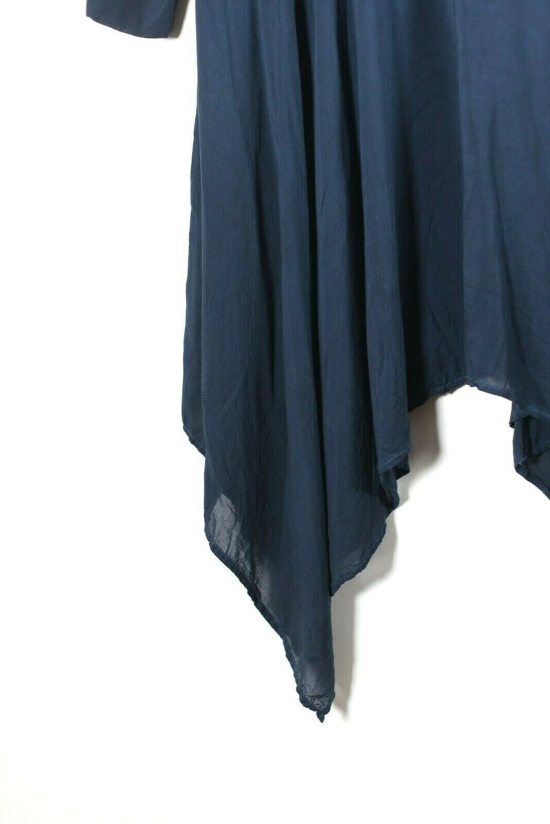 DKNY Pure Womens Petite Navy Blue Dress Long Sleeve Button Front Asymmetrical