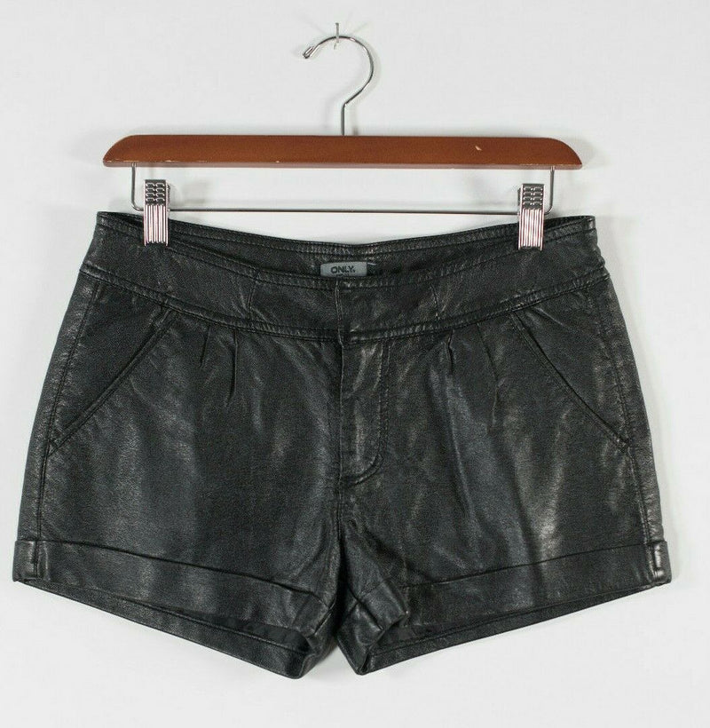 Only Womens XS Black Shorts Cuffed Vegan Faux Leather Slash Pocket Pleated Front