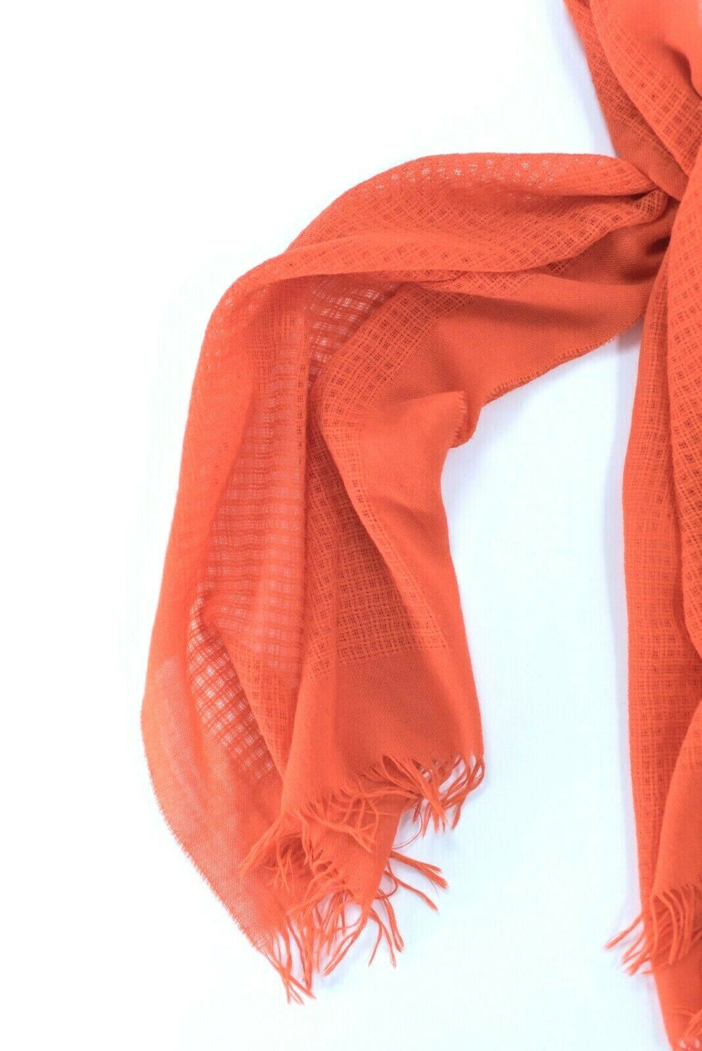 Eileen Fisher Womens Orange Scarf Wool Wrap Scarf Shawl Square Woven Grid Knit