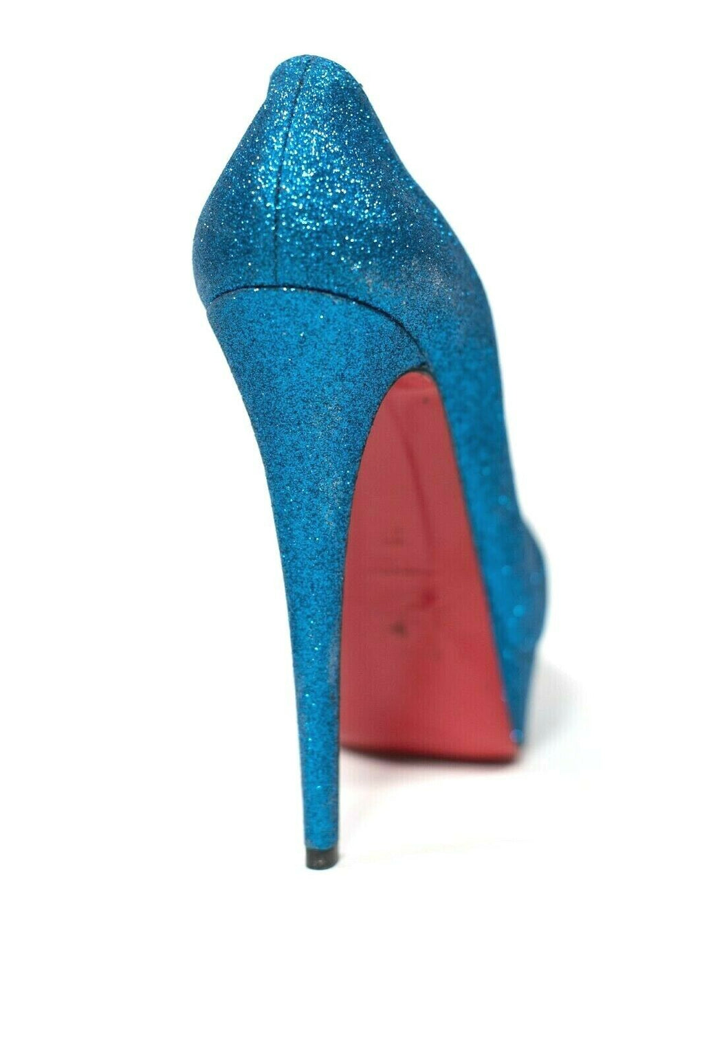 Christian Louboutin Women Size 37 Blue Sapphire Glitter Mini Lady Peep 150 Pumps