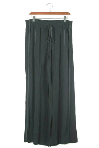 Armani Collezioni Womens Size 46 Black Trousers Wide Leg Pants