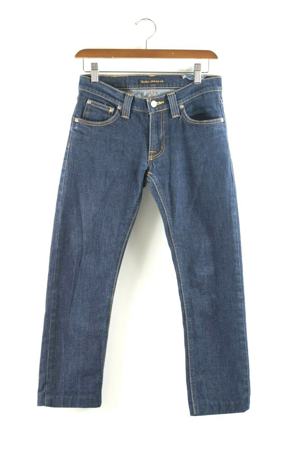Nudie Womens Size 28 X 34 Jeans Tight Long John Skinny Leg in Dirty Stretch Blue