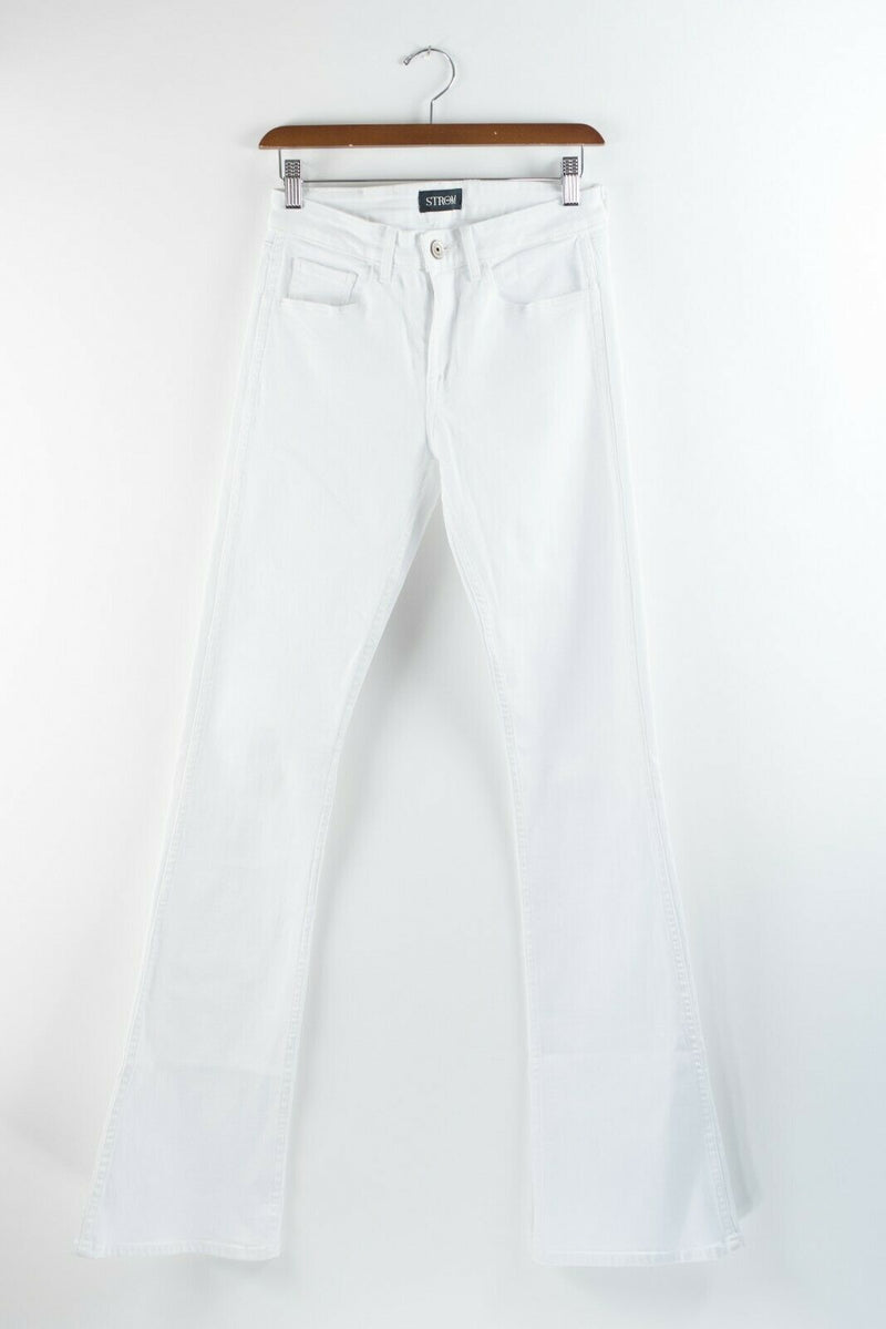 Strom Womens Size 26 Small White Jeans Wide Leg Bell Bottom Solid Denim Pants