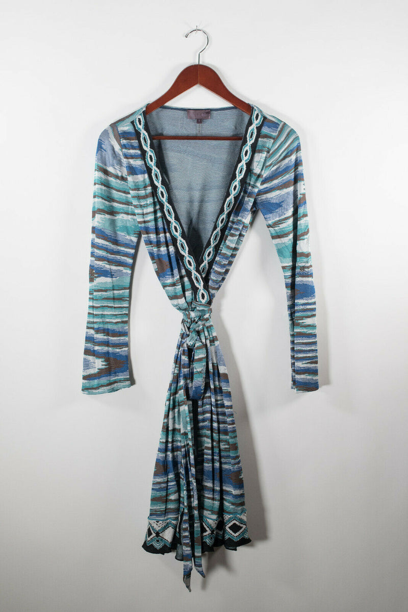 Hale Bob Womens Small Blue Green Wrap Dress Striped Zigzag Knit Knee Length Mini