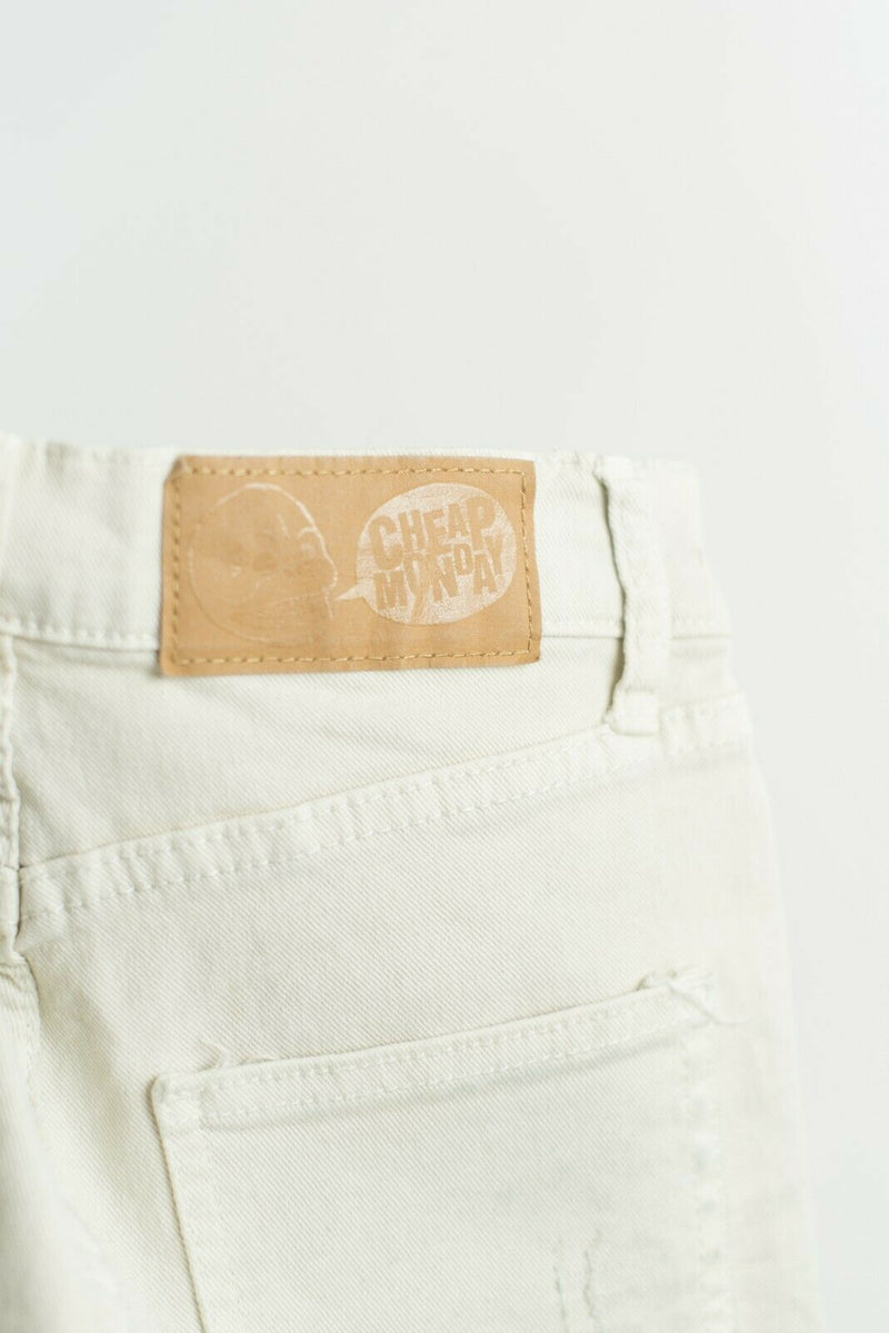 Cheap Monday Womens Size 25 Beige Shorts Jean Denim Cut Off Faded Ombre Mini