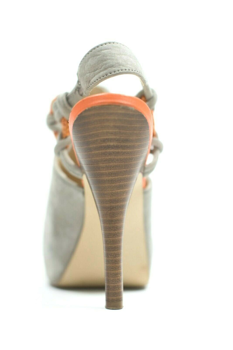 Calvin Klein Womens Size 6.5 Grey Orange Slingback Heeled Sandals Suede Peep Toe