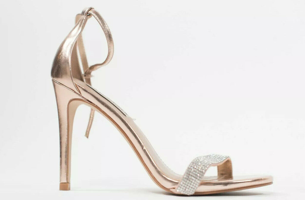 Steve Madden Womens Size 6.5 Rose Gold Sandal Pumps Stiletto Crystal Strap Shoes