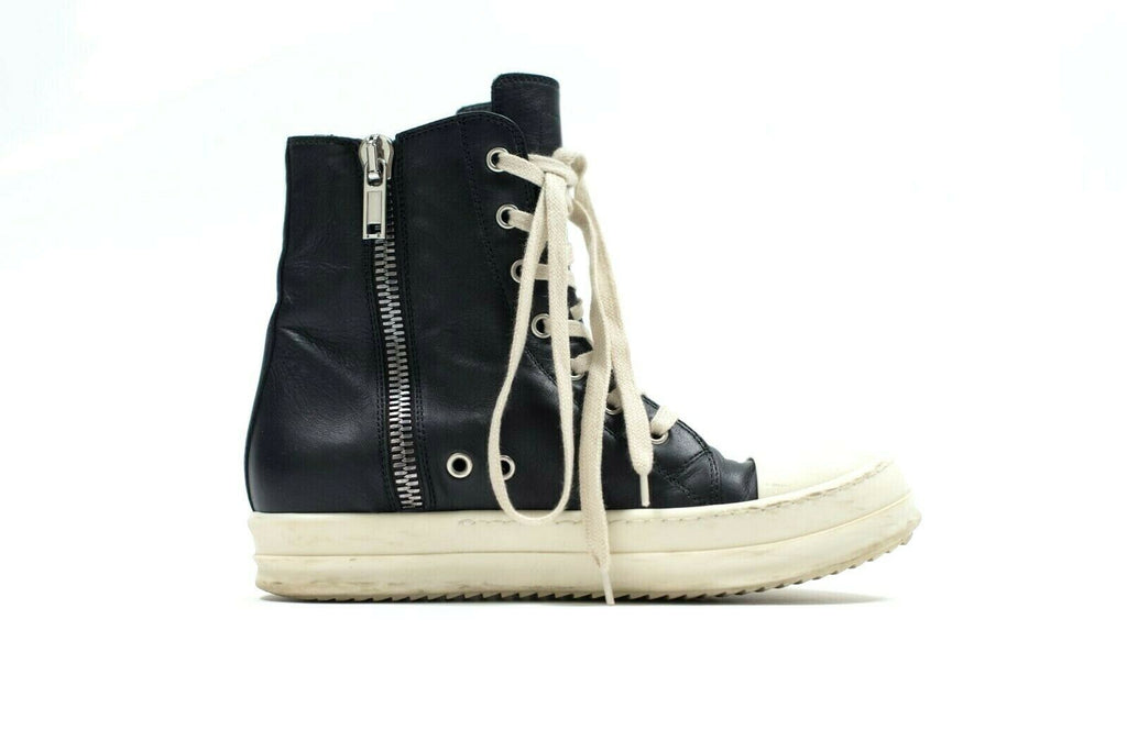 Rick Owens Womens 36.5 Black Sneakers Leather High Top Classic Ankle Boots Shoes
