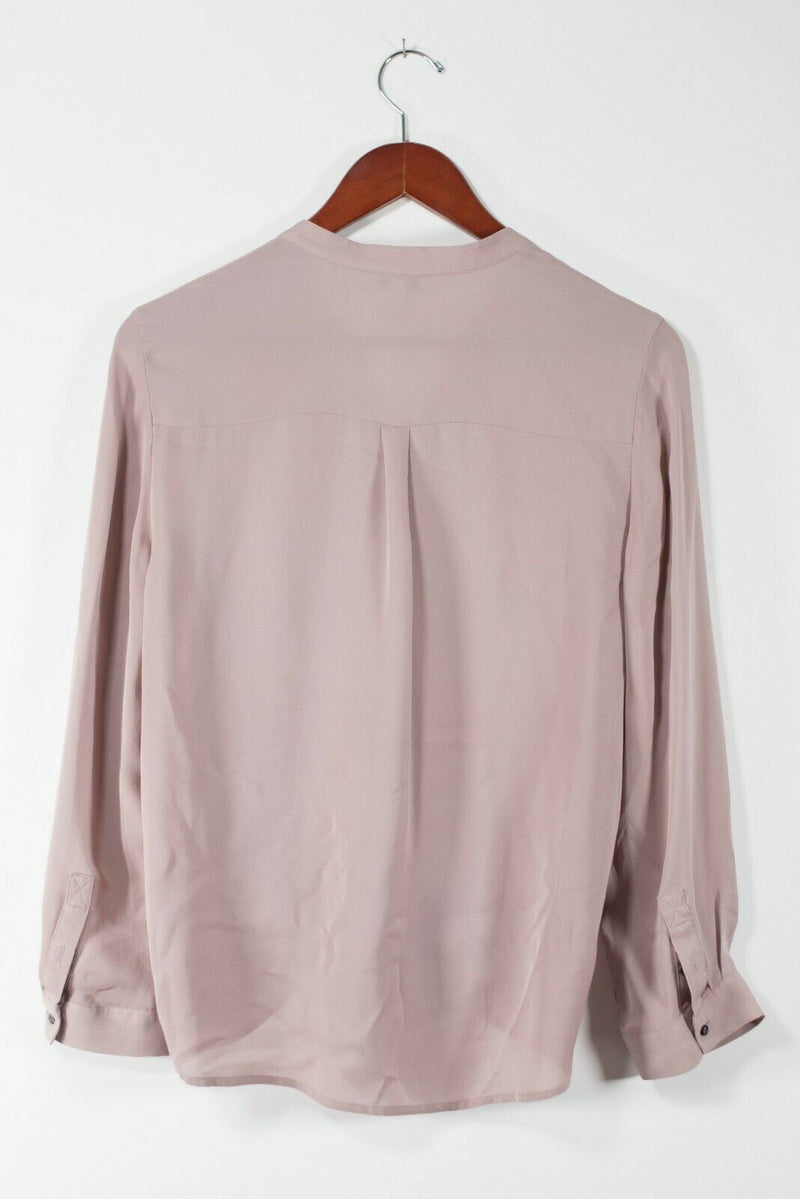 Joie Womens Small Pink Edaline Blouse Button Down Silk Long Sleeve Tie Front Top