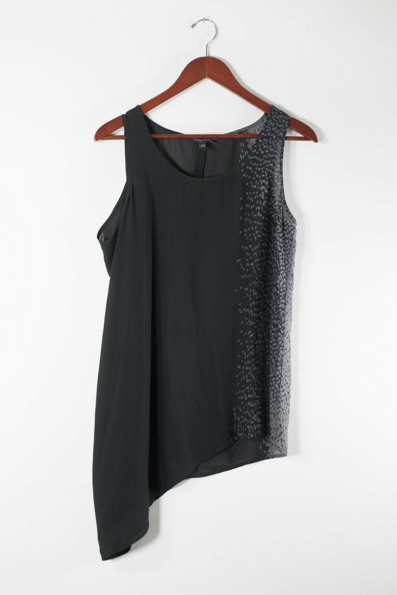 Eileen Fisher Womens Small Black Grey Tank Top Hi Lo Printed Silk Tunic Shirt