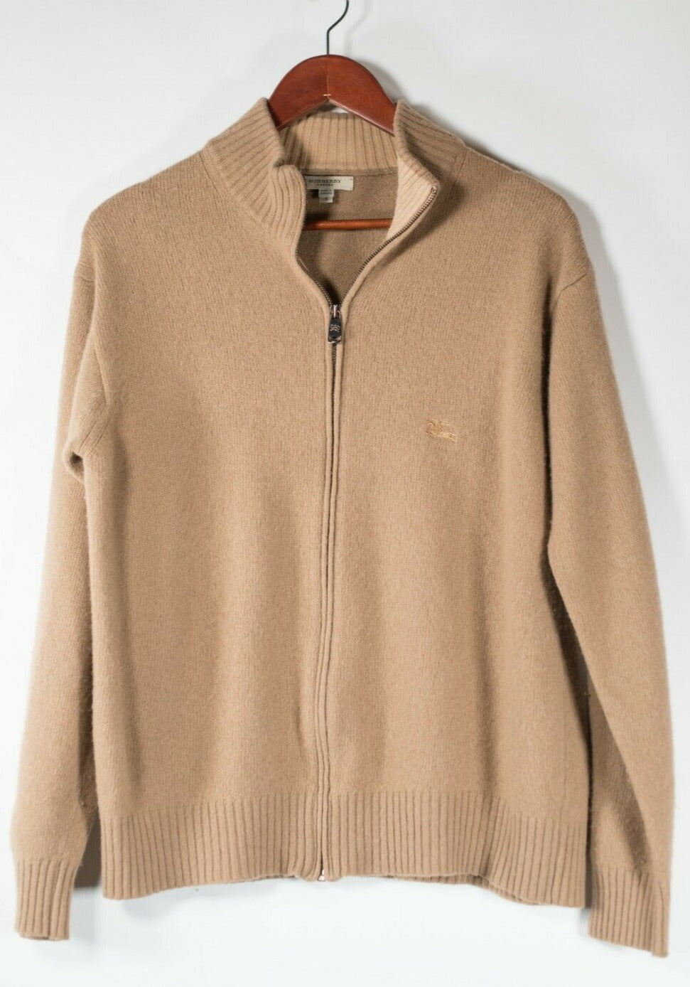 Burberry London Men's Size Small Beige Brown Cardigan Sweater Zip Up Wool Shirt