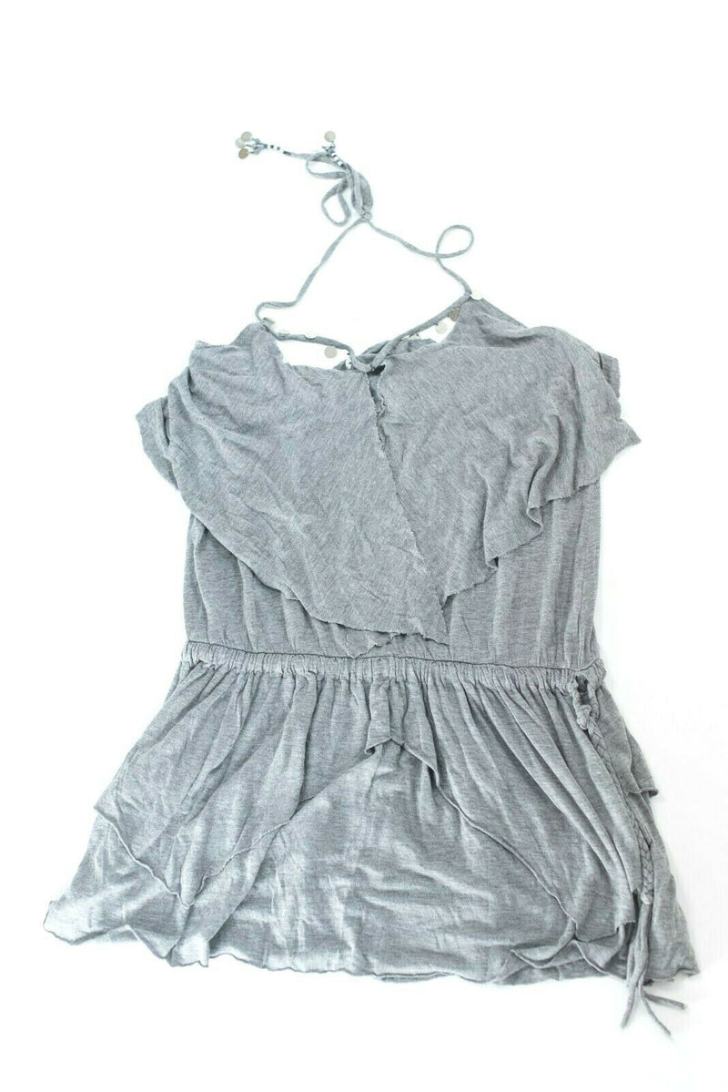 Bebe Womens Size XS Gray Silver Tank Top Sequined Soft Shirt Blouse Sleeveless