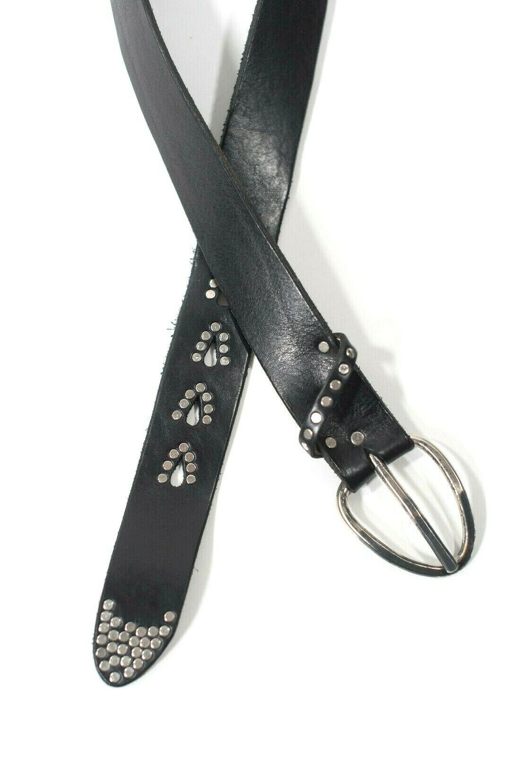 Womens Black Silver Small Medium Belt Studded Leather Handmade Designer Boutique