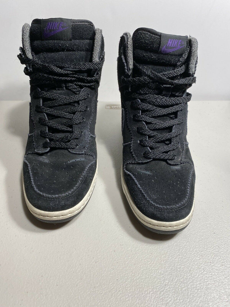Nike Women's Size 9.5 Black Sneakers Dunk Sky Hi Hidden Wedge Suede Purple Shoes