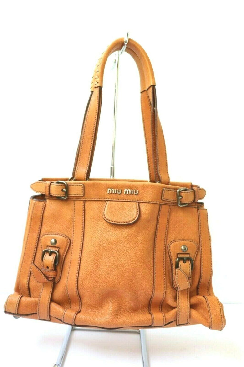 Miu Miu Womens Orange Handbag Pebbled Leather Bag