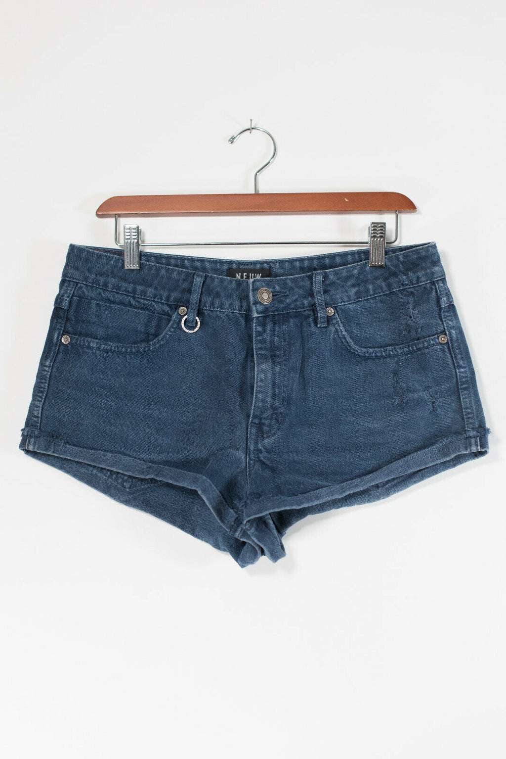Neuw Women Size 29 Medium Dark Blue Jean Shorts 5 pocket Denim Cutoff Shorts