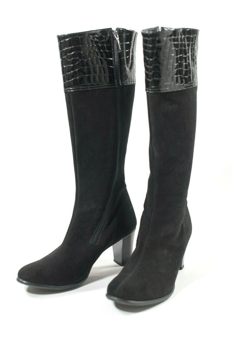 Pajar Canada Womens Size 9 Black Tall Boots Suede Patent Leather Croc Embossed