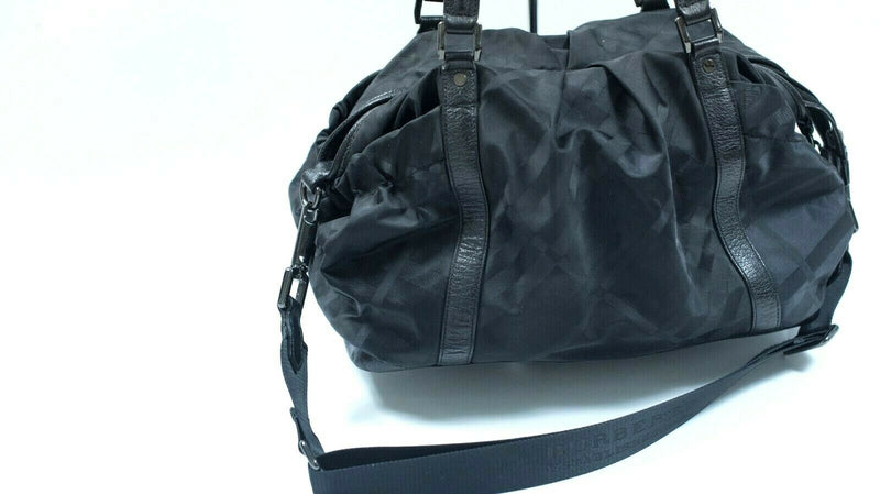 Burberry Womens Black Diaper Bag Purse Signature Black Tonal Check Pattern Bag