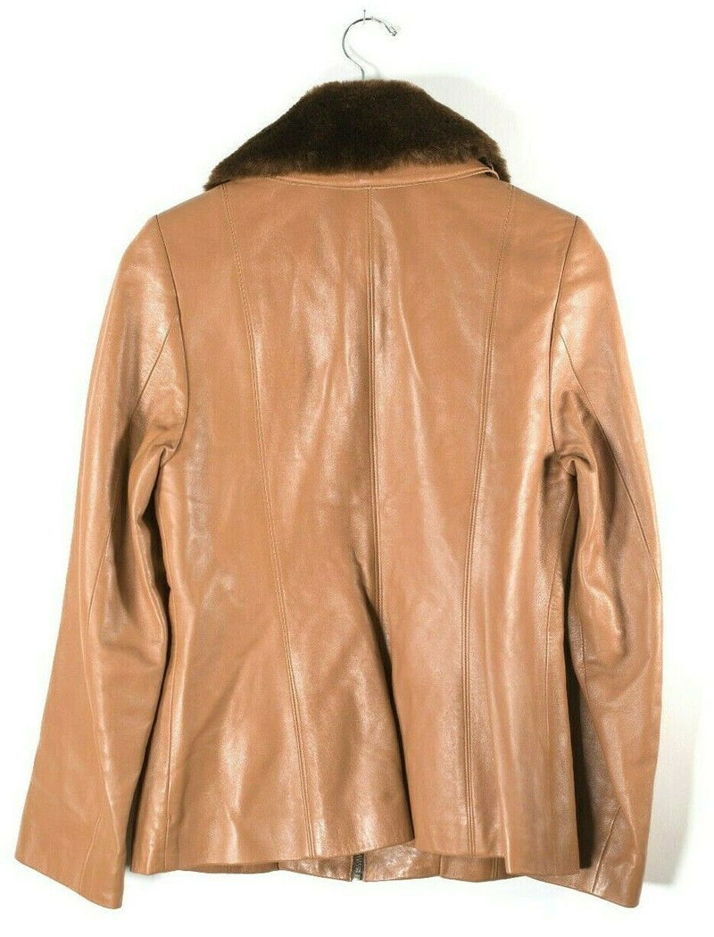 Identify Womens Medium Tan Brown Leather Jacket Faux Fur Collar Lined Short Zip
