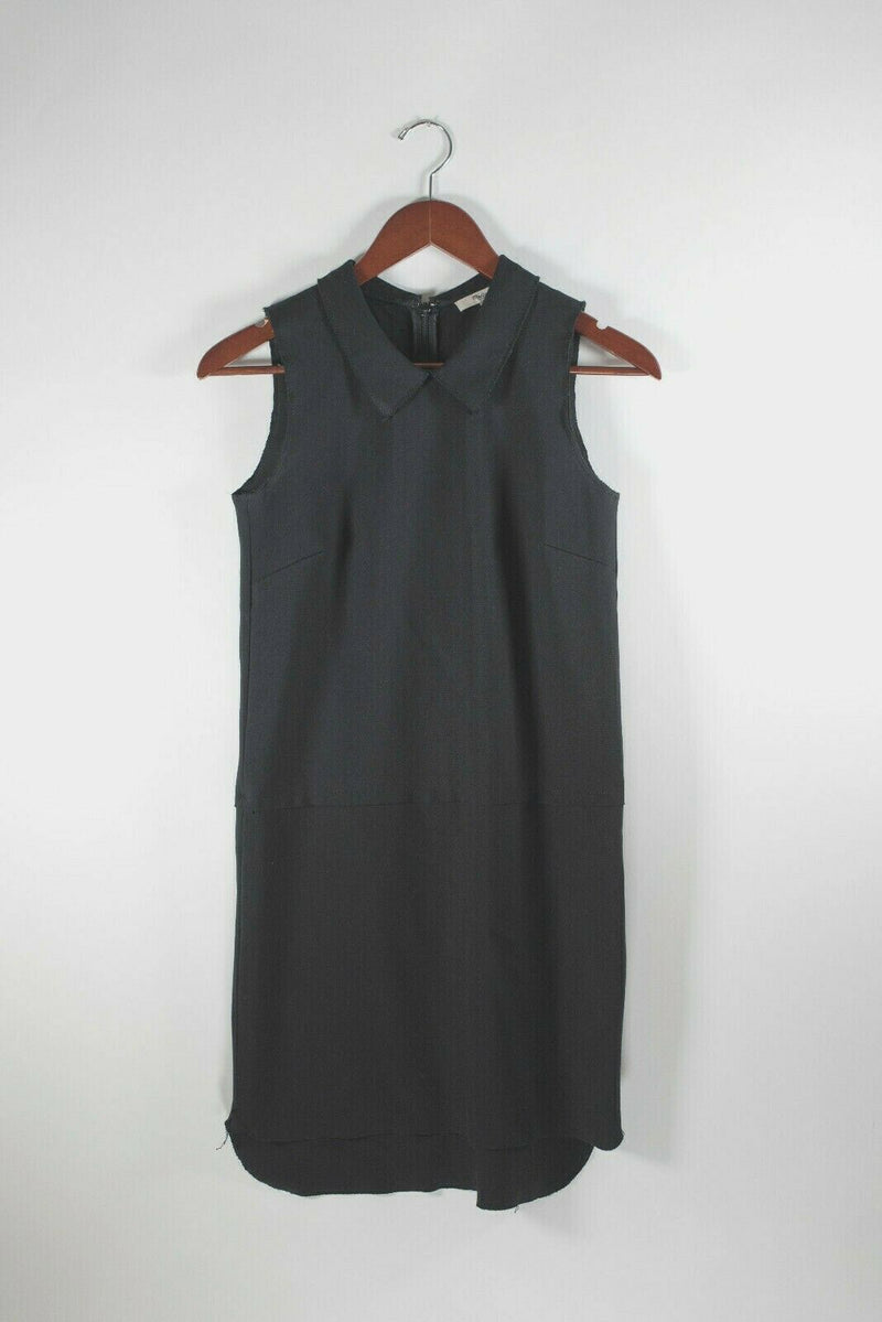Madewell Womens Size XS Black Dress Sleeveless Cotton Peter Pan Collar Knit Mini