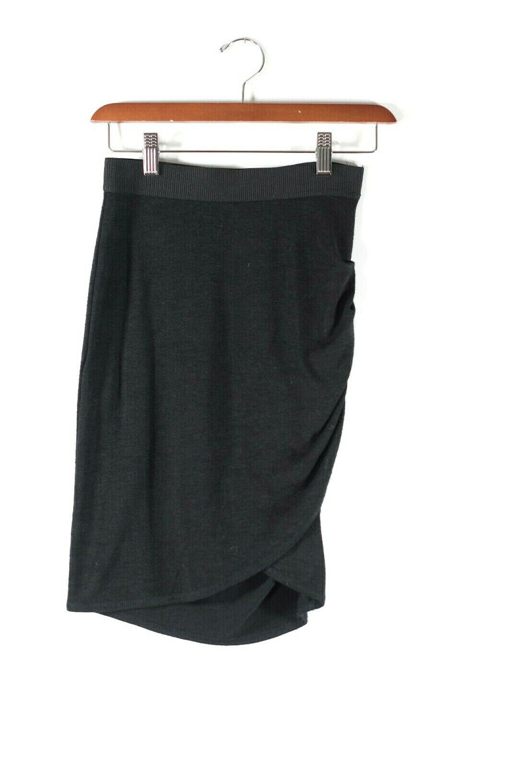 Aritzia Wilfred Free Womens XS Black Skirt Pencil Ruched Knit Elastic Waist Mini
