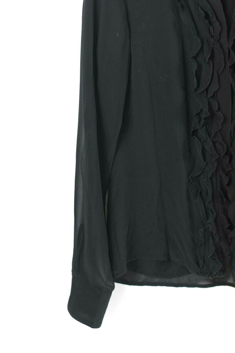 Karen Millen Womens Size 8 Medium Black Blouse Shirt Ruffle Crepe Vintage Sheer