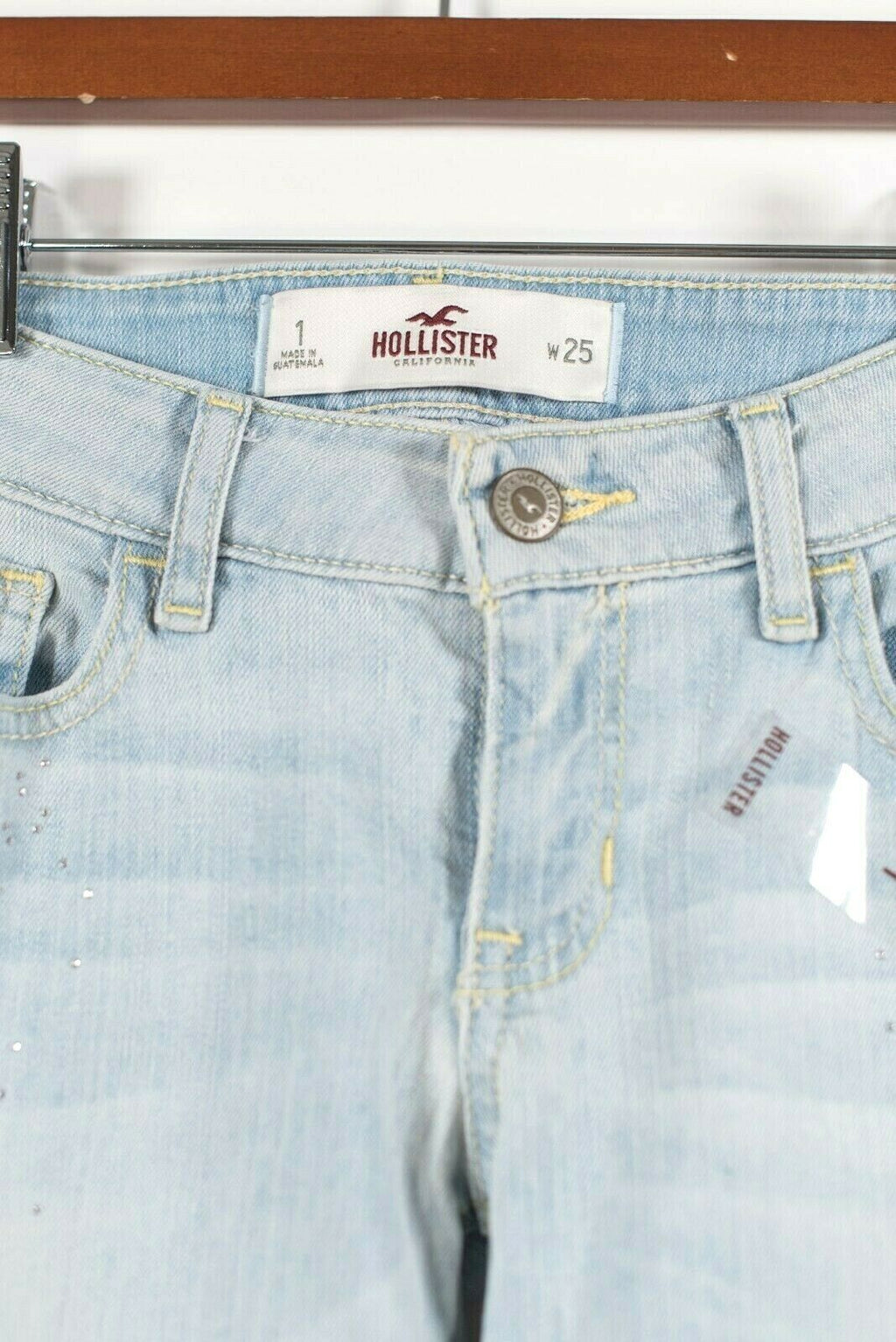 Hollister Womens Size 25 XS Light Blue Jeans Sparkle Glitter Applique Leg NWOT