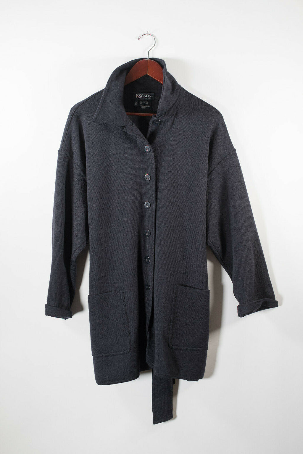 Escada Womens 42 Medium Blue Jacket Wool Designer Knit Belted Button VTG Coat