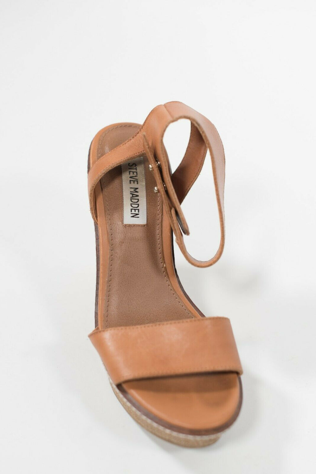 Steve Madden Women's Size 7 Tan Brown Wedge Sandals Leather Strap Open Toe Shoes