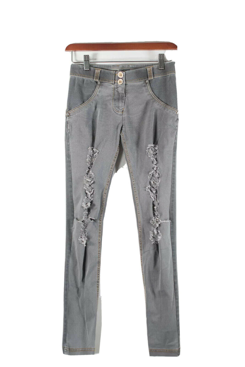 Freddy Womens Size 0 Gray Jeans Denim WR.UP Ripped Front Low Rise Skinny