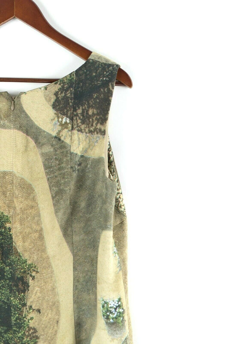 Akris Punto Womens Size 12 Large Brown Dress Tree Landscape Print Sleeveless NWT
