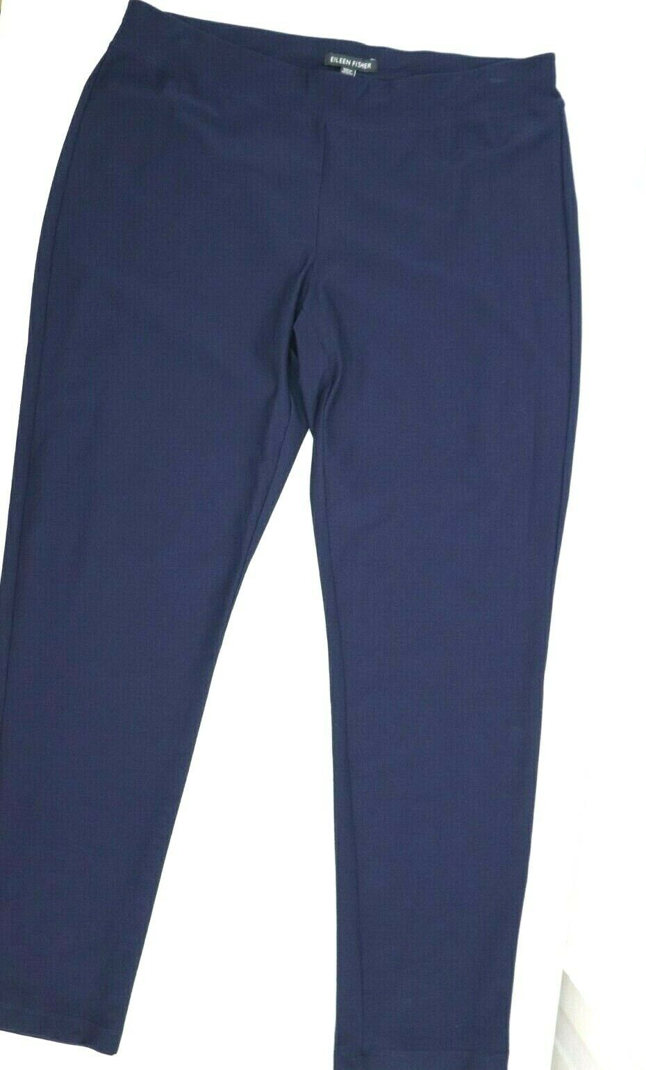 Eileen Fisher Women's Petite Large Navy Blue Pants Stretch