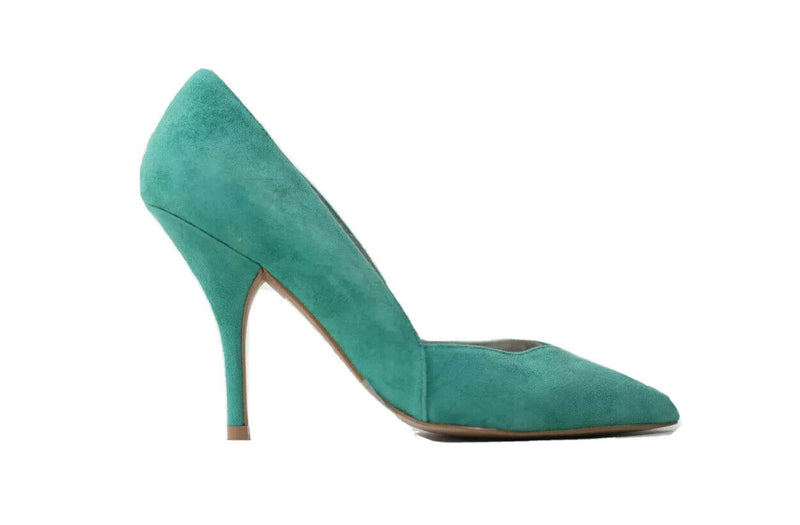 Reiss Womens Size 8 Gem Green Arya Pumps Suede Leather Court Mid Heel Shoes NWOB